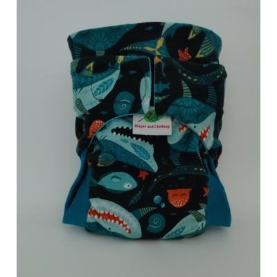 LA mosható pelenka  M méret - cápa