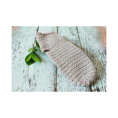 Kézműves horgolt mosdókesztyű, organikus pamut, M-es bézs színű