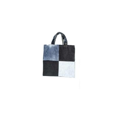 Bevásárló táska újrahasznosított farmerből 4 kockás
