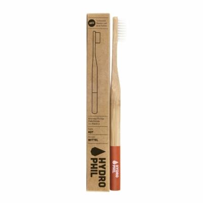 Hydrophil Felnőtt bambusz fogkefe közepes sörtével - piros